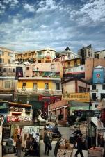 Detalle de EN ALGUN LUGAR 2012. Collage tridimensional de fotografías, 3 metros de largo x 1 metro de alto x 60 cm de volumen aprox.