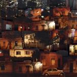 Detalle de NOCTURNO 2011. collage tridimensional de fotografías. caja de luz. 1 metro de largo x 60 cm de alto x 25 cm de volumen.