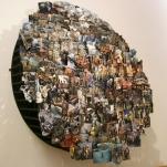 METRÓPOLIS 2009. Collage tridimensional de fotografías circunferencia de madera de 2 metros de diámetro x 120 de volumen